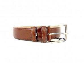Cintura da uomo in pelle cognac 3,5 cm