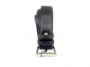 Cintura da uomo in pelle nera 3,5 cm