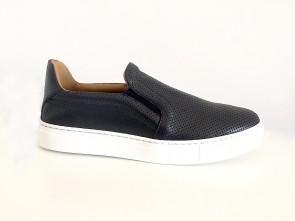 Sneaker slip on in vitello blu