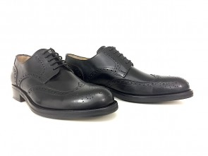 Derby uomo full brogue in pelle nera