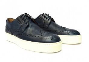 Sneakers da uomo in pelle blu delavè