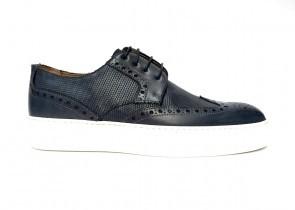 Sneakers da uomo in pelle blu