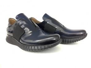 Sneaker senza lacci in vitello abrasivato oceano