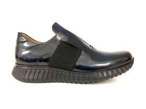 Sneakers senza lacci in vitello abrasivato oceano