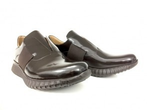 Sneaker senza lacci in vitello abrasivato testa di moro
