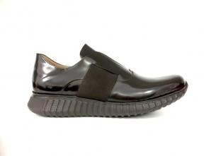Sneakers senza lacci in vitello abrasivato testa di moro