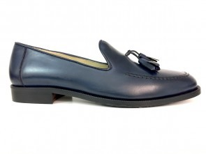 Mocassino uomo con nappine in pelle blu