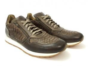 Sneaker in vitello fango con zip