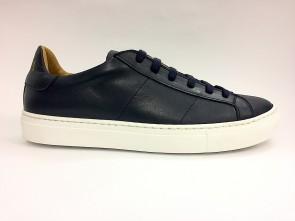 Sneakers bassa in pelle blu